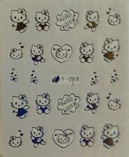 Nagelsticker Nail Art Aufkleber Tattoo Fingernägel Hello Kitty Katze Cat Silber