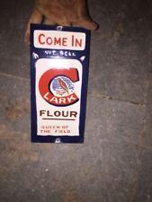 """Porcelain Lark Flour Enamel  sign 8"""" X 4""""  approx"""