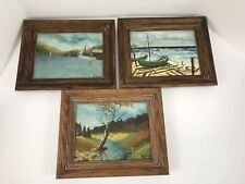 Lot Of 3 Oil Paintings By Listed Artist HF Kneff 8x10 sea scape autumn