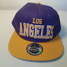 No Fear Los Angeles Snapback Baseball Cap. 100% cotton. Purple/yellow