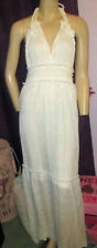 NWT GORGEOUS Tropical ISLAND Fiesta SEXY Ivory CROCHET Lace HALTER Maxi Dress M
