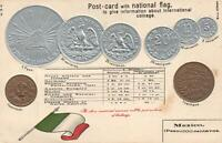 VINTAGE MEXICO FLAG & EMBOSSED COPPER & SILVER COINS POSTCARD - UNUSED