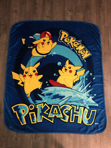 Vintage Pokemon Surfing Pikachu Royal Blue Plush Blanket Throw Northwest Company
