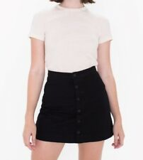 American Apparel black button front corduroy skirt