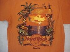 "Hard Rock Cafe Cancun ""Love All Serve All"" Vacation Souvenir Orange T Shirt M"