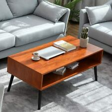 Modern Coffee Table Walnut End Sofa Side Table Furniture with 2-Tier Shelves New