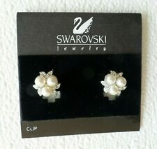 Noc Authentic Swan Signed Swarovski Earrings – Crystals & Faux Pearls Ear Clips