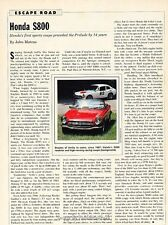 1967 1968 Honda S800 Original Car Review Print Article J637
