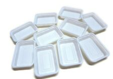 Set of 10 White Tray Plastic Container Dollhouse Miniatures Supply Food Fruit