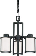 Nuvo Odeon 3 Light (convertible up/down) Chandelier with Satin White Glass