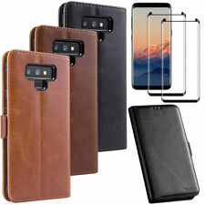 Leather Wallet Card Pocket Case Cover For Samsung Galaxy Note 9 / Note 8 + Glass