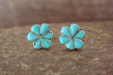 Zuni Indian Sterling Silver Turquoise Flower Post Earrings! Cachini