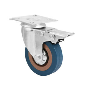 3 Inch Industrial Caster PVC Rolling Wheels with Brake for Trolley Chair