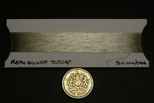 Hilo de plata real, japonés, 50 metros, para el bordado, goldwork y tejido