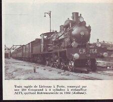 1966  --  LIGNE PORTO LISBONNE   TRAIN VAPEUR EN GARE DE ENTRONCAMENTE  EN 1932