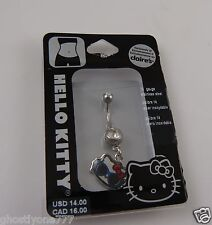 Hello Kitty head glasses Belly Naval dangle Ring Claires exclusiv 14g stainless