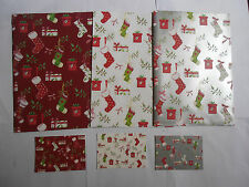 Christmas Stockings Red White Silver Christmas gift wrap 12 sheets & 12 tags