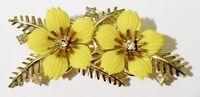 broche ancienne fleur jaune cristal diamant bijou bijou vintage couleur or 370