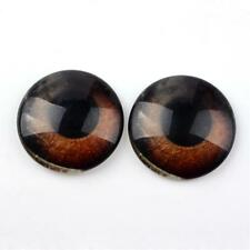 Glass Cabochons - Deep Brown Eyes - 20 x 10mm Diametre Round (10 Pairs)