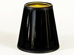 Lampenschirm Aufsteckschirm elegant schwarz Gold Lack Nachttischlampe Tischlampe