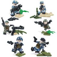 Spielzeug Toys Militär Soldaten Waffen Marine Spazialeinheit Mini Baukästen 6PCS