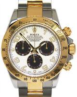 Rolex Daytona 18k Yellow Gold & Steel Panda White Dial Mens 40mm Watch 116523