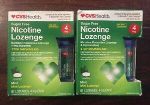 2 CVS Nicotine Mini-Lozenges 4MG Mint (81 count each) EXP 04/2021
