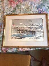 Antique Japanese Woodblock Print Snow Mountains Bay  Hiroshige Bridge Rare