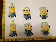 6 pc Despicable Me Minion Fabric Applique Iron On Ons