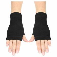 Black Elastic Combed cotton Fingerless Gloves for Women L