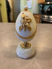 Vintage Splendid Music Box Egg Shaped Pearls Gold Accents Plays Memory