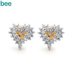 New Classic Simulated Diamond 9k 9ct Solid Yellow Gold Studs Earrings 55466/*