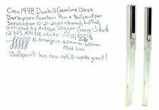 C1978 ALFRED DUNHILL GEMLINE CLASSIC DRESS FOUNTAIN PEN BALLPOINT SET RESTORED