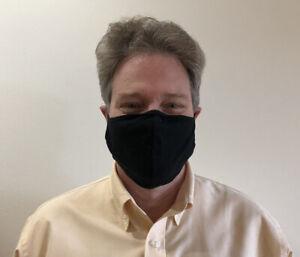 3 pack - Large Black Face Mask Unisex Adults Cotton Washable w/black strap