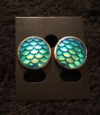 Mermaid Earrings Dragon Egg Game Of Thrones Little Ariel Scale Blue Charm Studs