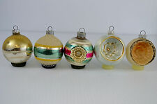 Lot of 5 Christmas Ornaments Round Flocked Ball Shiny Brite Dimple 3-1/4 inch