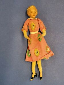 Vintage Caco Dollhouse Miniature Young Woman Lady Doll - Metal Hands & Feet 40s