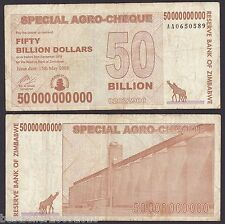 ZIMBABWE 50 BILLION DOLLAR RARE OLD ONE WITH SOME WEAR AND TEAR # 274