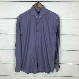 Bogosse Purple Shirt Size 3 Spread Collar Cufflink Dress Party Button Down