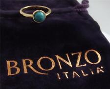 MILOR BRONZO ITALIA YELLOW GOLD PLAT BRONZE TURQUOISE RING UK- L US- 6.0 NEW QVC