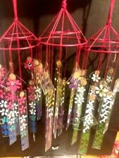 Lot of 3 Vintage style Japanese glass wind chimes  VIOLETS  WISTERIA ROSE DAISY