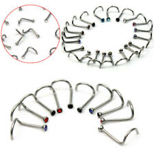 10x Stainless Steel Clear Crystal Twist Nose Ring Stud Body Bar Piercing