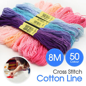 Egyptian Cross Stitch Cotton Sewing Skeins 50 Colourful Embroidery Thread Floss