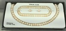 Sterling Silver Cultured Freshwater White Pearl Necklace Earrings Bracelet Set