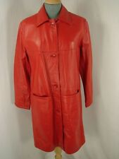 SUPERB RED MILAN LONG LEATHER COAT SIZE 10 - IMMACULATE CONDITION