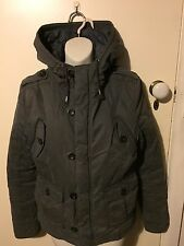 Terrific Miss Shop Grey Padded Jacket With Hood, Fully Lined - Size 16