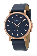 New Marc by Marc Jacobs Baker Rose Gold Navy Leather Women's Watch MBM1329