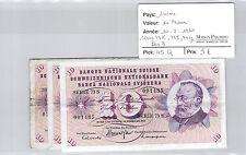 SUISSE LOT DE TROIS 10 FRANCS 10.2.1971 SÉRIE 73S - 73K - 74Y PICK 73K - 73S 74Y