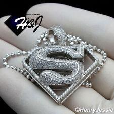 "18-30""MEN 925 STERLING SILVER 2MM MOON CUT BEADED CHAIN 3D SUPERMAN PENDANT*S263"