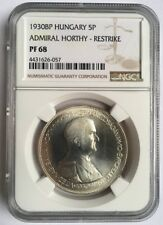 Hungary 1930 Admiral Horthy 5 Pengo Silver Coin NGC PF68 Restrike
